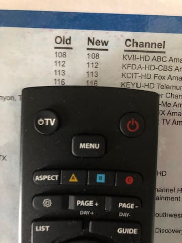 TV remote.  Push red circle on right side.  This should make the TV come on.  If not, push TV button on left-hand side