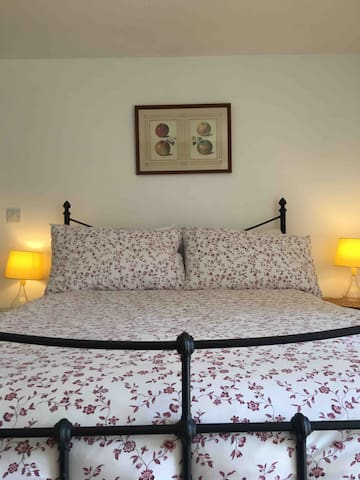 Crisp Cotton sheets on the double bed...
