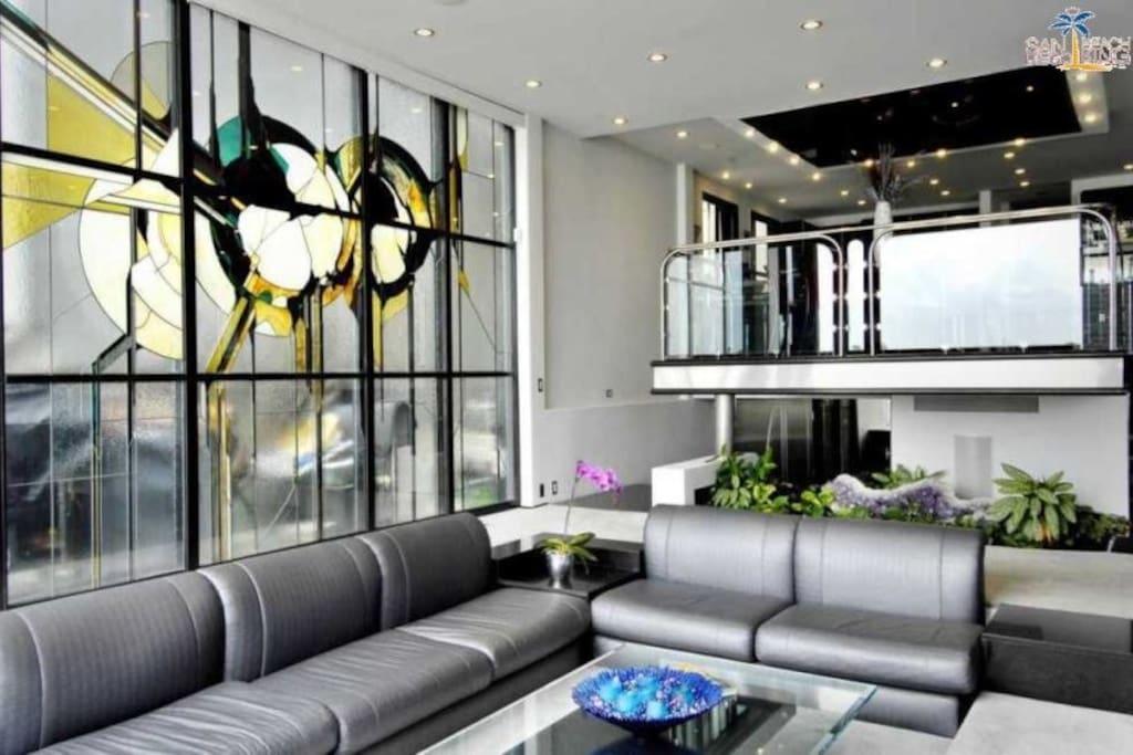 Beautiful full wall stain glass window Sleek Retreat Mission Bay Vacation House Rental