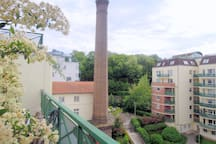 Historical smokestack of original factory in the courtyard