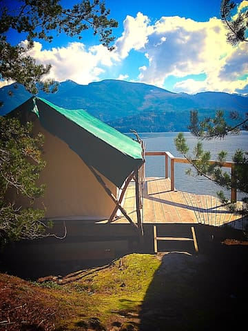 Out There - private waterfront tent cabin.