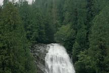 The majestic Chatterbox Falls, Jervis Inlet. We can help to arrange boat tours.