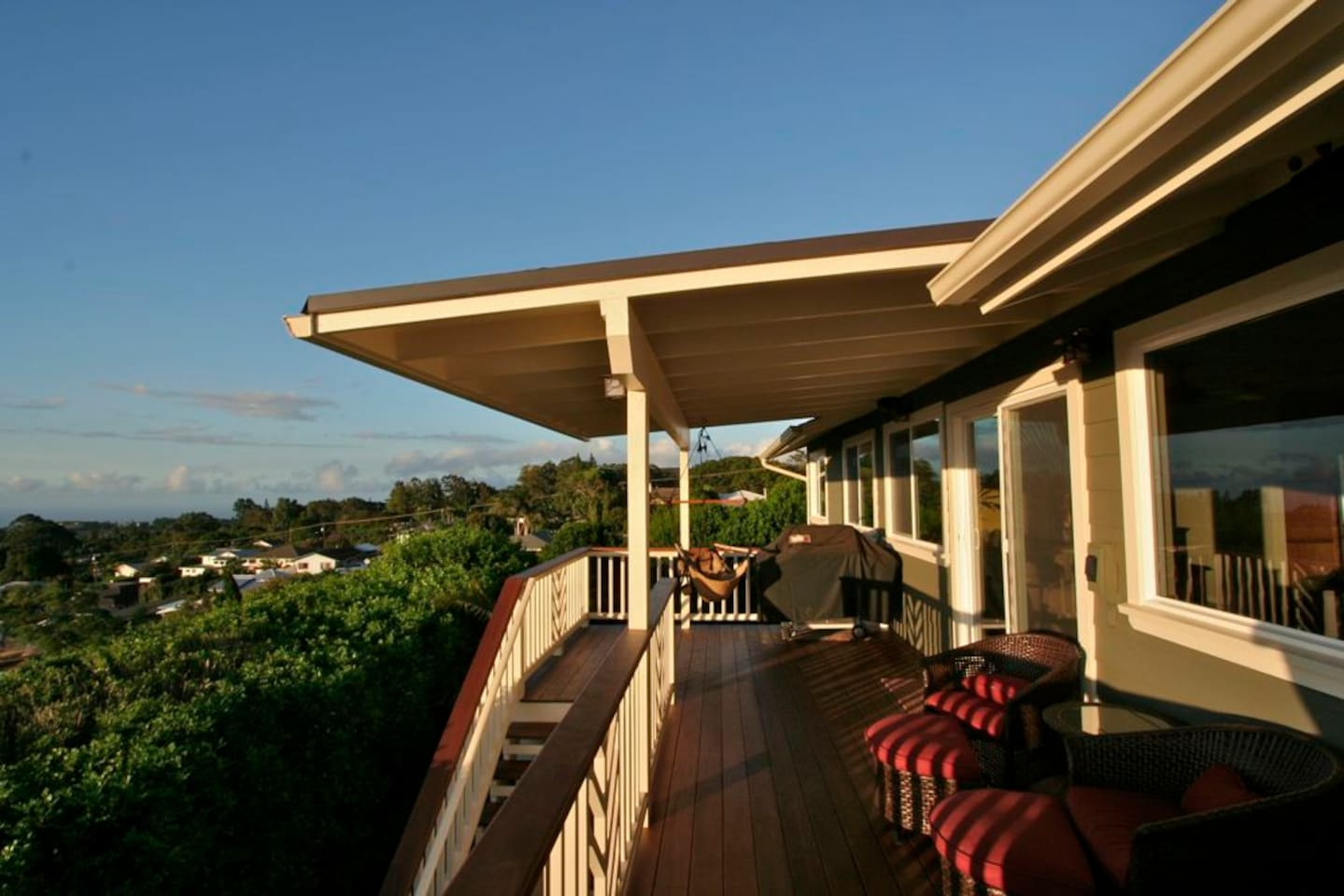 Gorgeous hardwood deck with lounge seating and panoramic views!