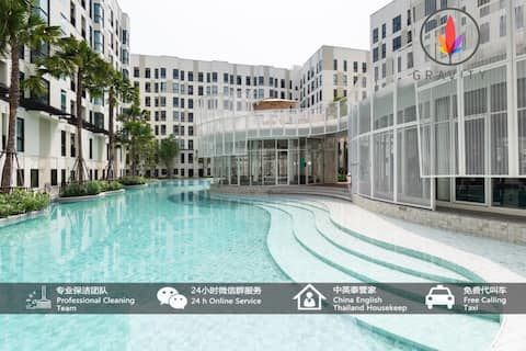 Near MU2-041-bts bearing 500m Premium Pool Condo/Siam/Erawan Shrine/Nana/25min Direct