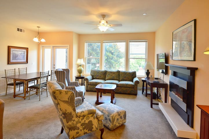 The living room and dining area