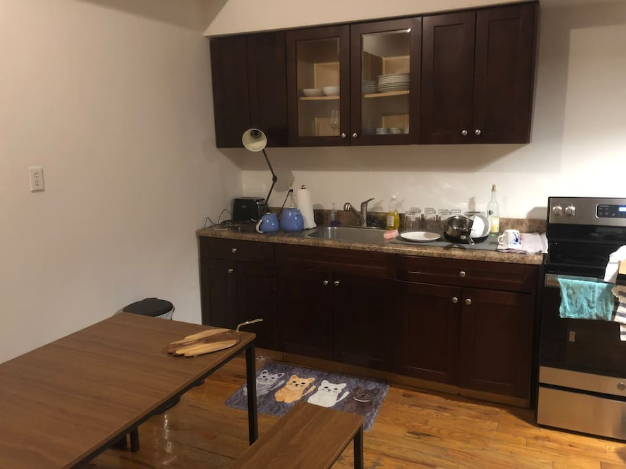 Kitchen with brand new dining table set