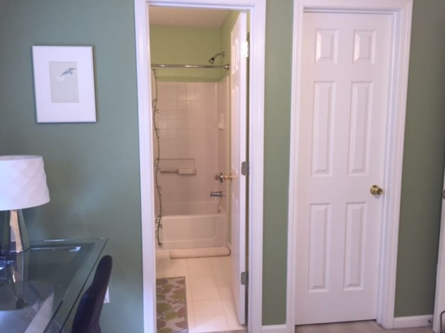 Adjoining private bath and walk in closet