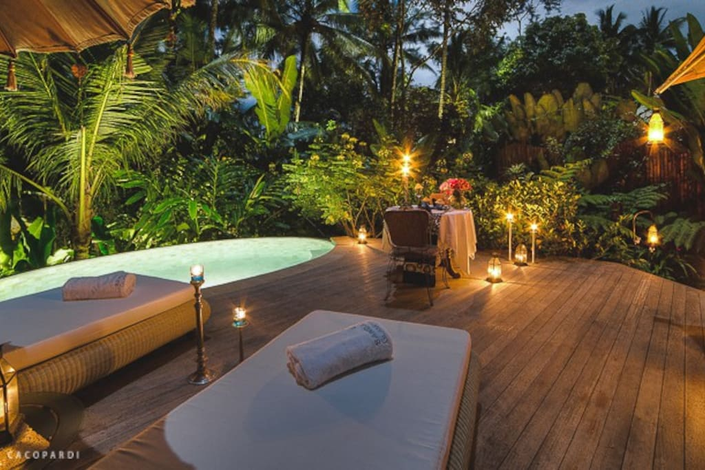 sunset at private terrace with private pool