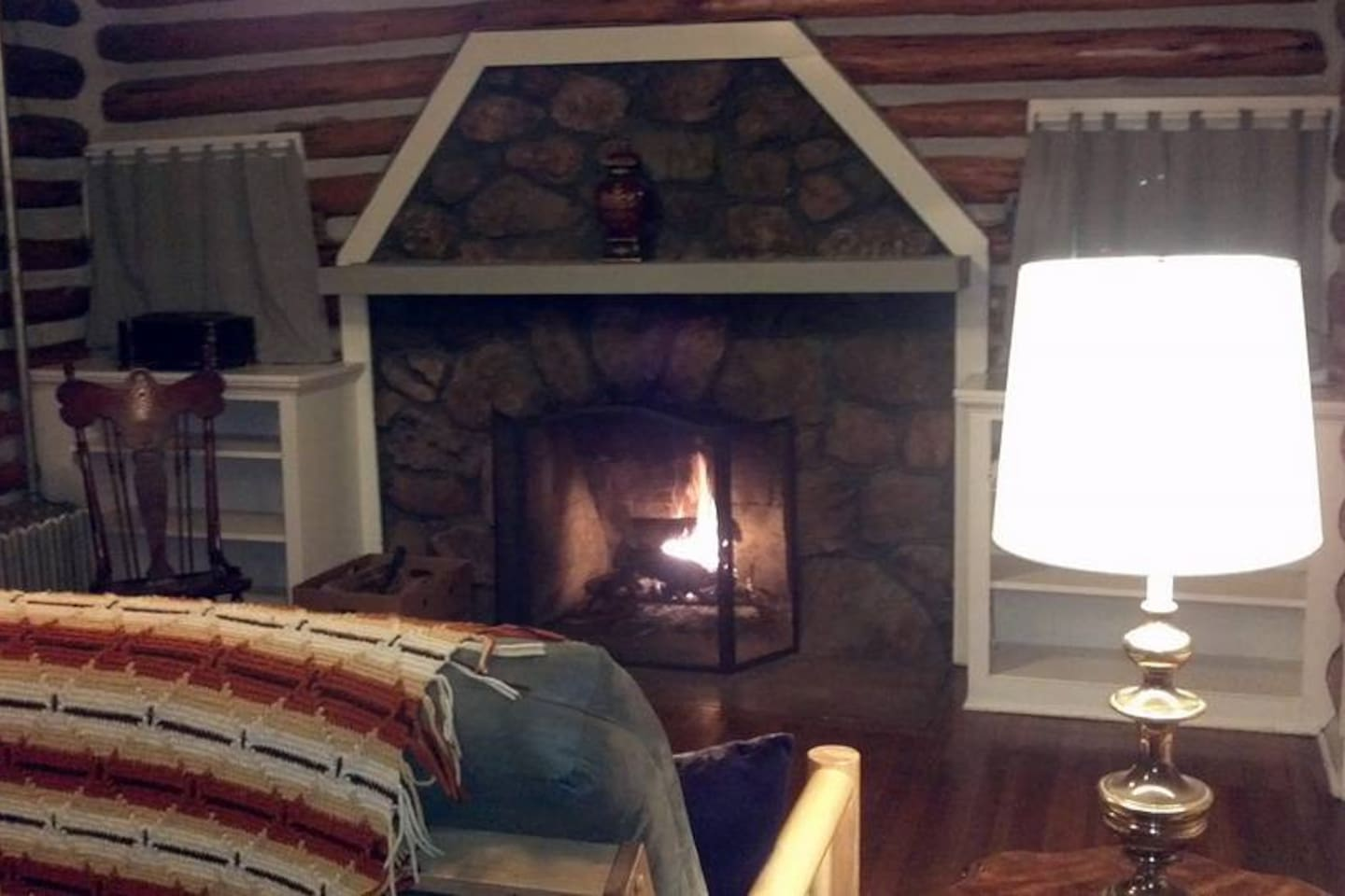 Enjoy a wood burning fireplace in the living room.