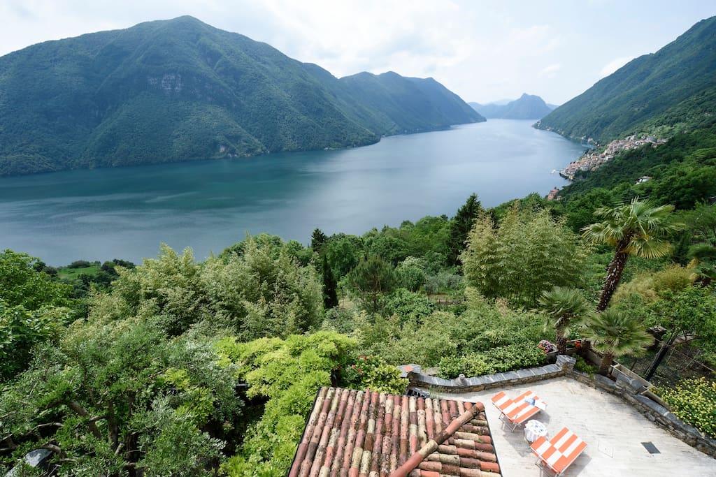 View from the Villa on San Salvatore, Lake Lugano