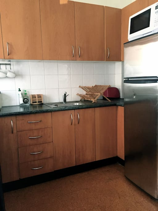 Fully kitted out kitchen w fridge, microwave & all the necessary equipment
