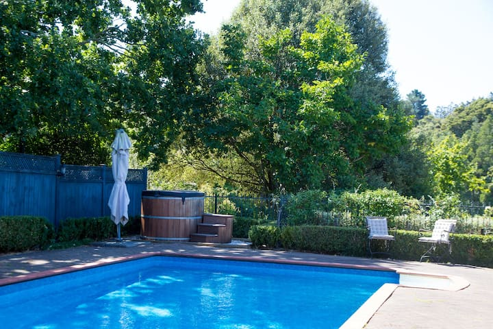 The pool, and outdoor seating and bbq area, plenty of space to lounge, and this image is taken from your private room!