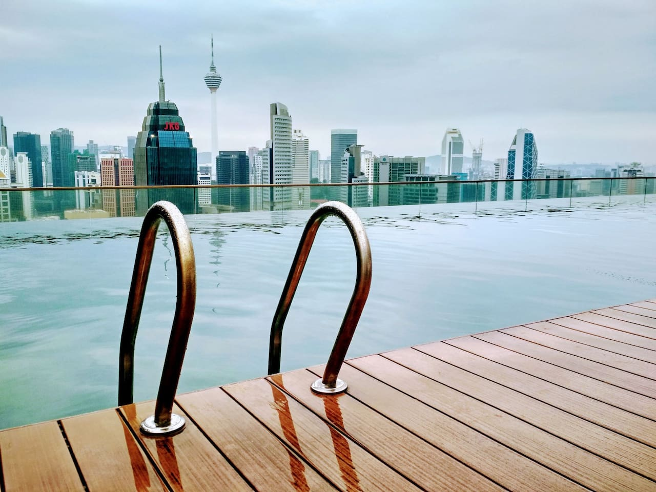 Infinity pool with amazing KL view including Petronas Twin Towers & KL Tower.
