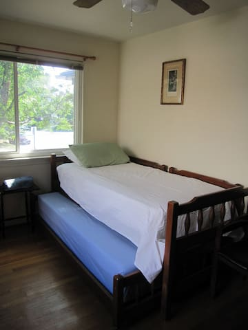 Trundle bed underneath for the second person