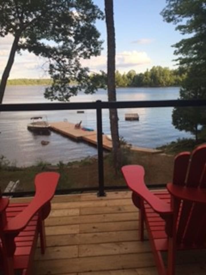 From the deck looking out on to lake, dock and floating dock
