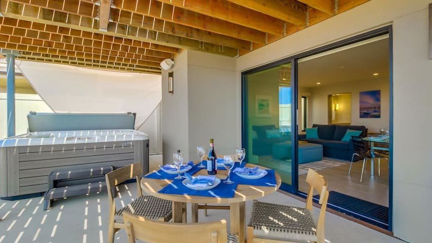 View deck outdoor dining and hot tub