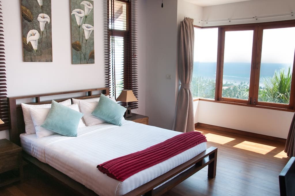 Guest Bedroom.  Views over the valley and Gulf of Thailand