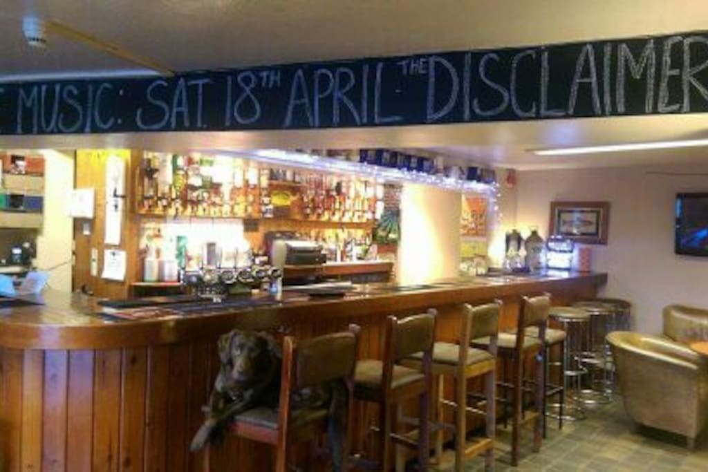 View of the bar and Dora the pub dog
