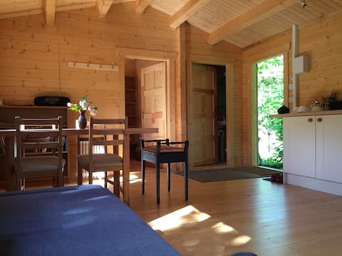 Log cabin on organic farm