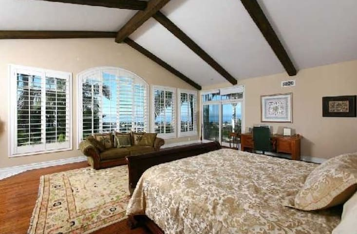 Expansive master suite with fireplace, full ocean view, access to private patio, large closets