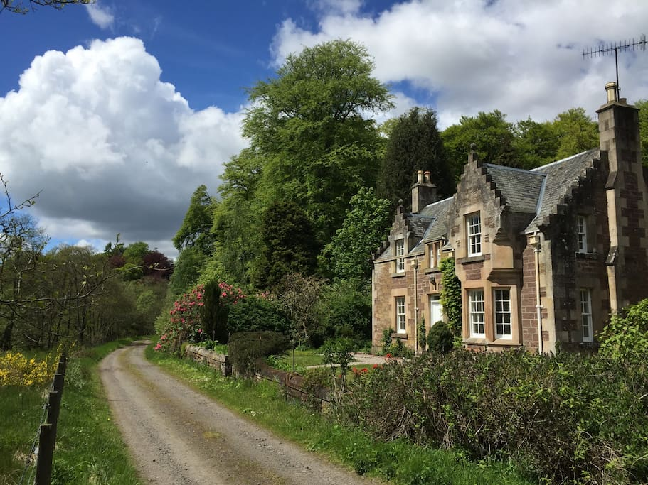 The front of the cottage, surrounded by beautiful countryside and wildlife.