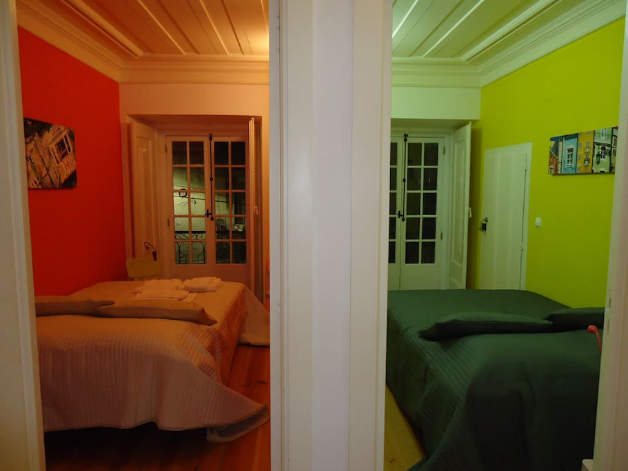2 separared rooms double bed