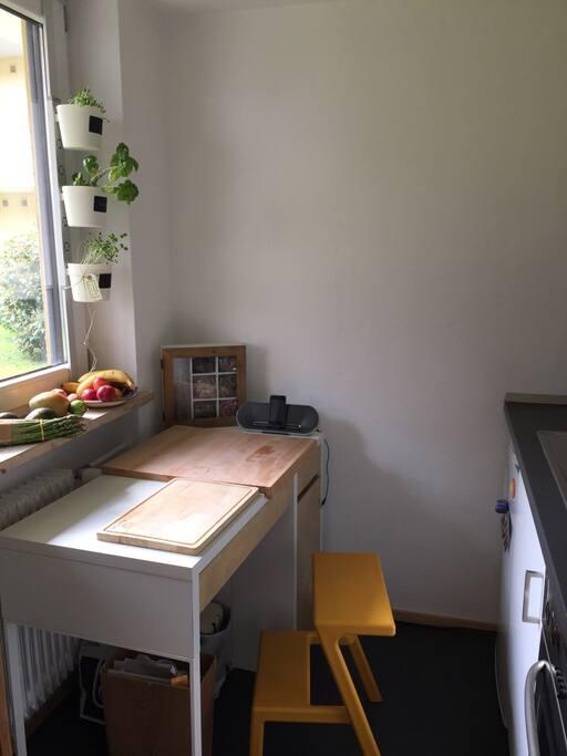 Die kleine aber feine Küche mit Blick in den Garten