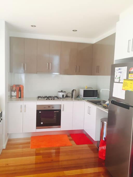 Modern, clean and accessible kitchen.             Tea and coffee are provided.