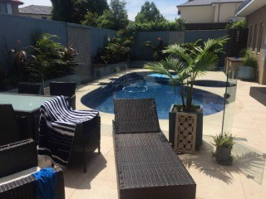 Sunny enclosed pool area