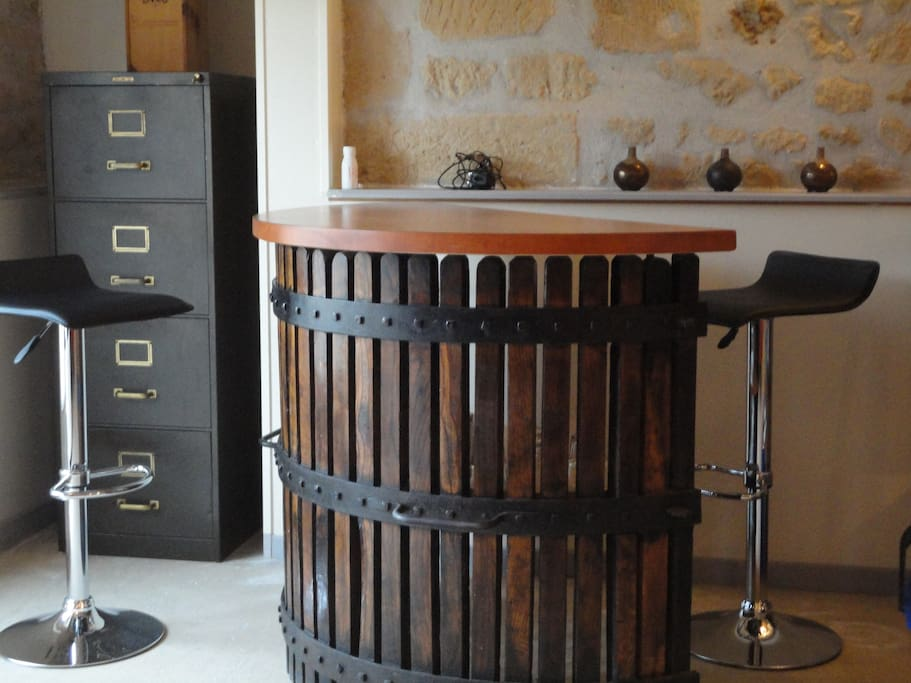 The breakfast bar is a recycled wine press