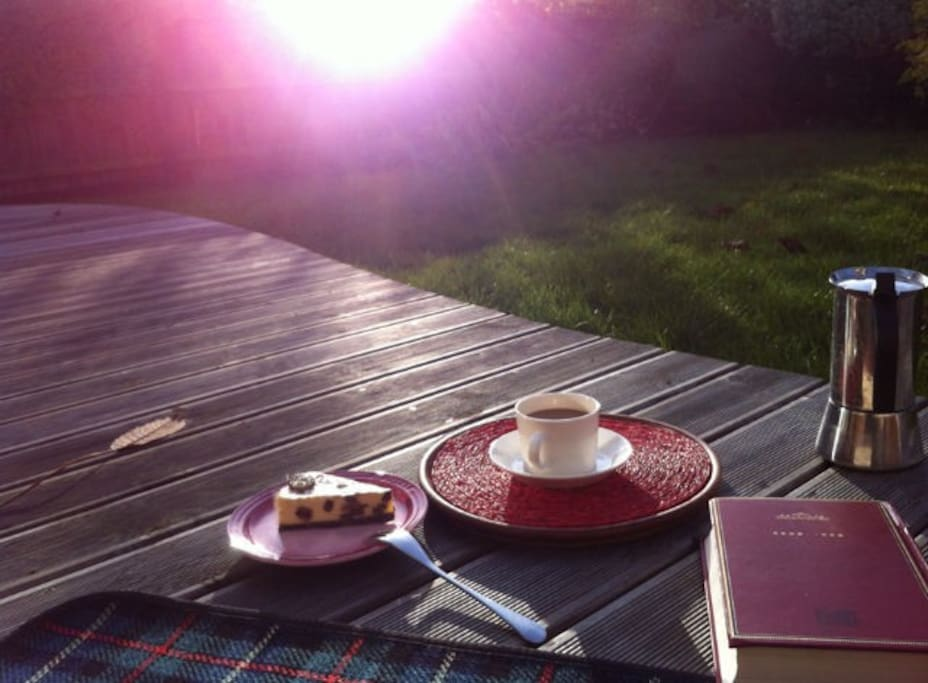 Reading a book with afternoon tea until sunset!