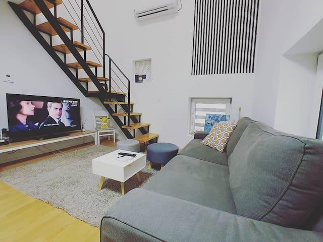 Large Parkside Art Duplex Hongdae 5min + Lift