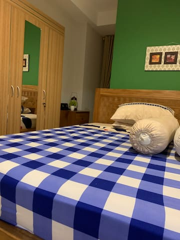 Bedroom #1 comfy queenbed, we always change the bedlinen and bedcover for every guest check out and ensure when you checking in all are cleaned