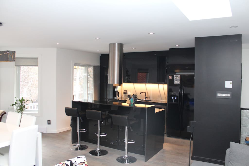 Beautiful slick urban kitchen with island and bar area with stools. Fully furnished with automatic espresso maker and refrigerated wine cellar.