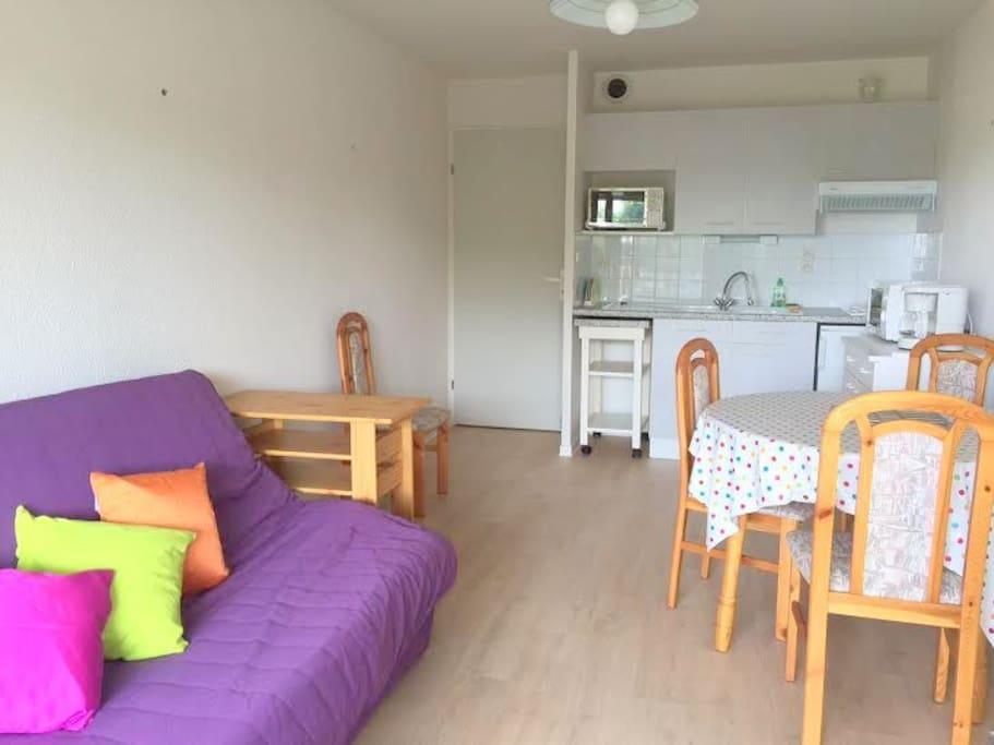 Intimité garantie pour les personnes dormant dans le séjour. Cette pièce est fermée par une porte donnant sur le couloir.