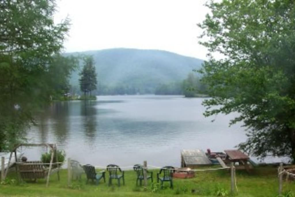 "This is the lake frontage as seen from the window of the ""master"" bedroom"