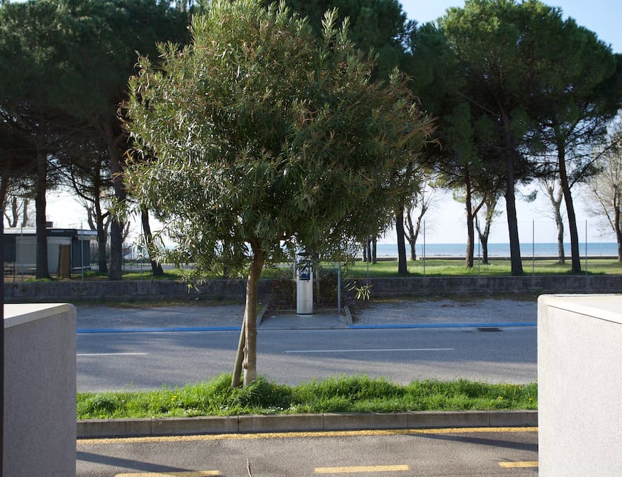 View of the beach from the entrance of the apartment block / La vista della spiaggia dall'ingresso del condominio