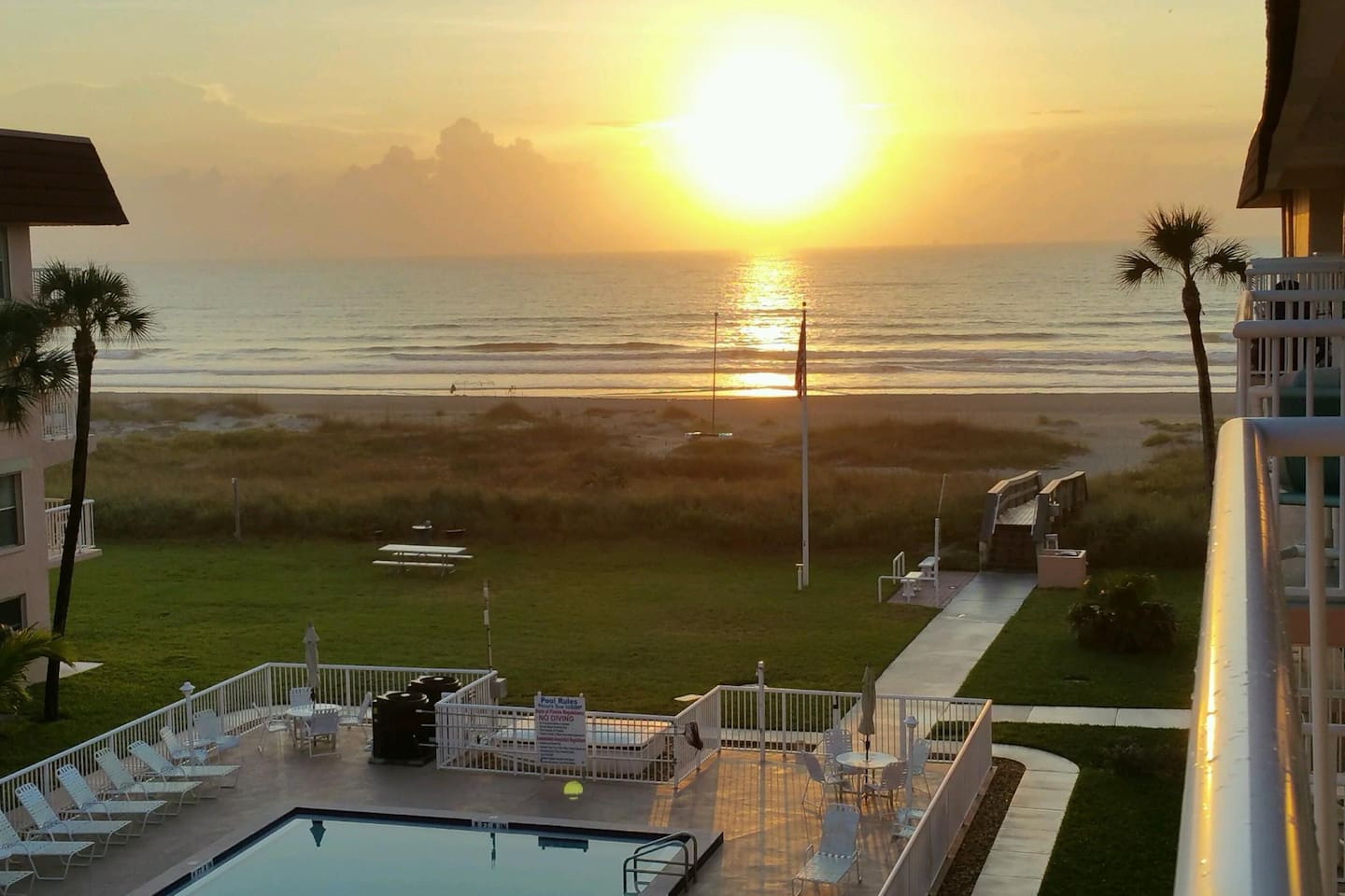 View of sunrise from the balcony