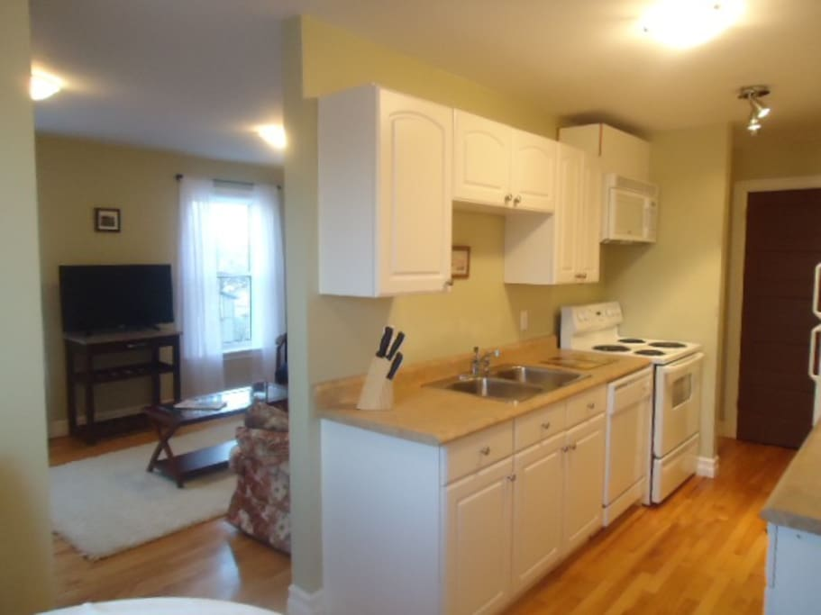 Fully equipped kitchen with full size electric stove and fridge, microwave, dishwasher.