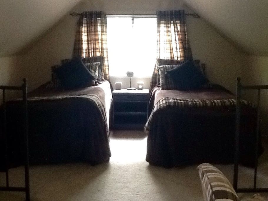 Twin beds in bedroom area