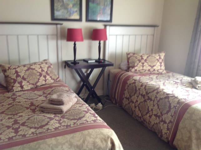 This the bedroom with 2 single beds.  Third bedroom