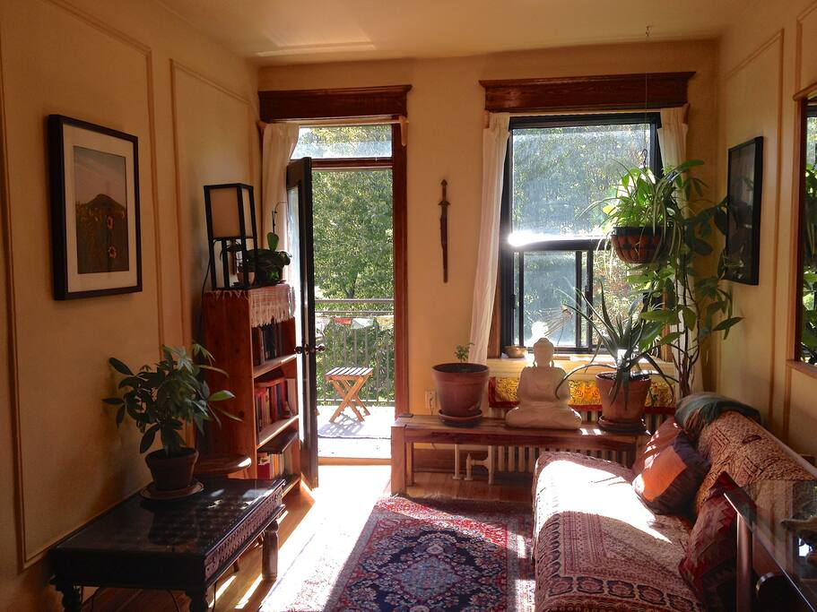 the living room, balcony, and view of parc jeanne-mance and the mountain!