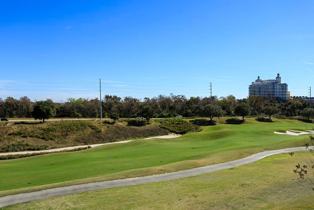 View of the golf course directly behind the condo