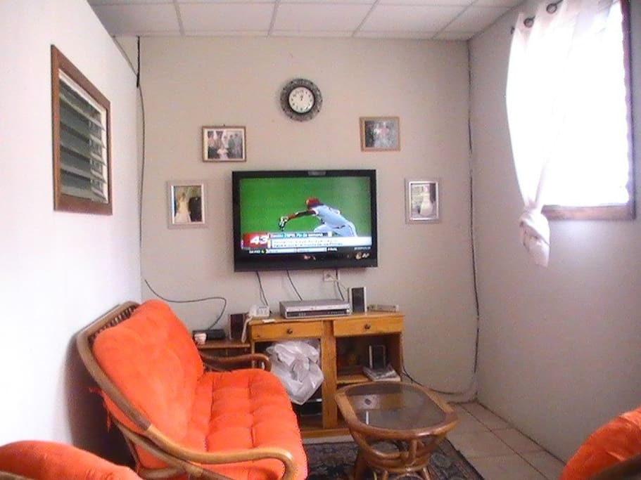 Sala interiror, se observa pantalla de 42 plgs. en buen estado.