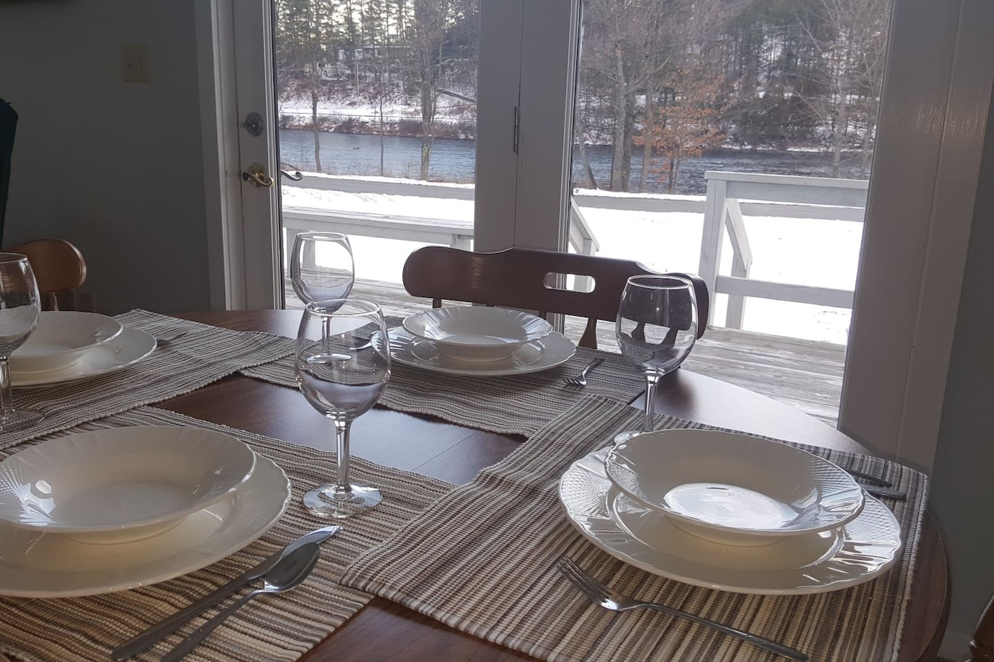 View of the Hudson River from your table. Enjoy your morning cup of coffee or an evening meal.