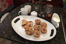 Enjoy coffee, tea, and fresh, home made baked goods each morning!