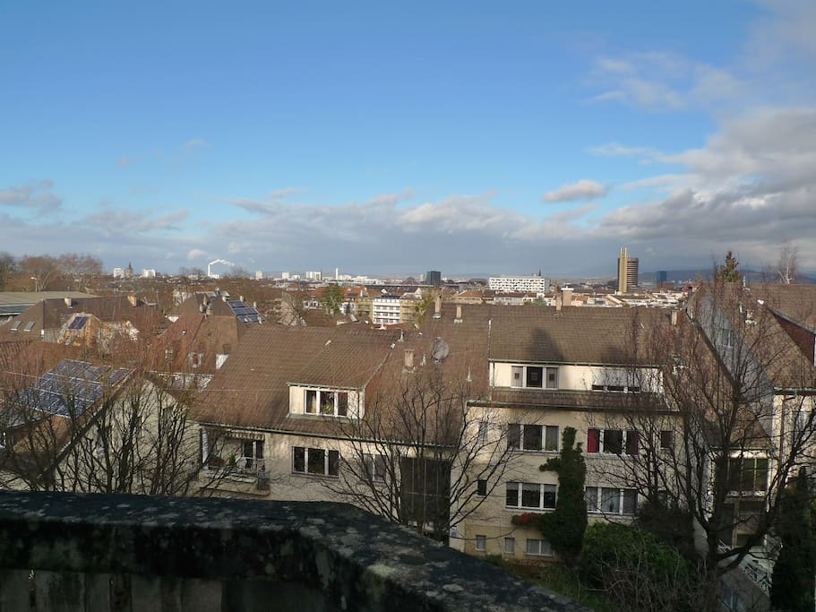 view from the second floor over the city