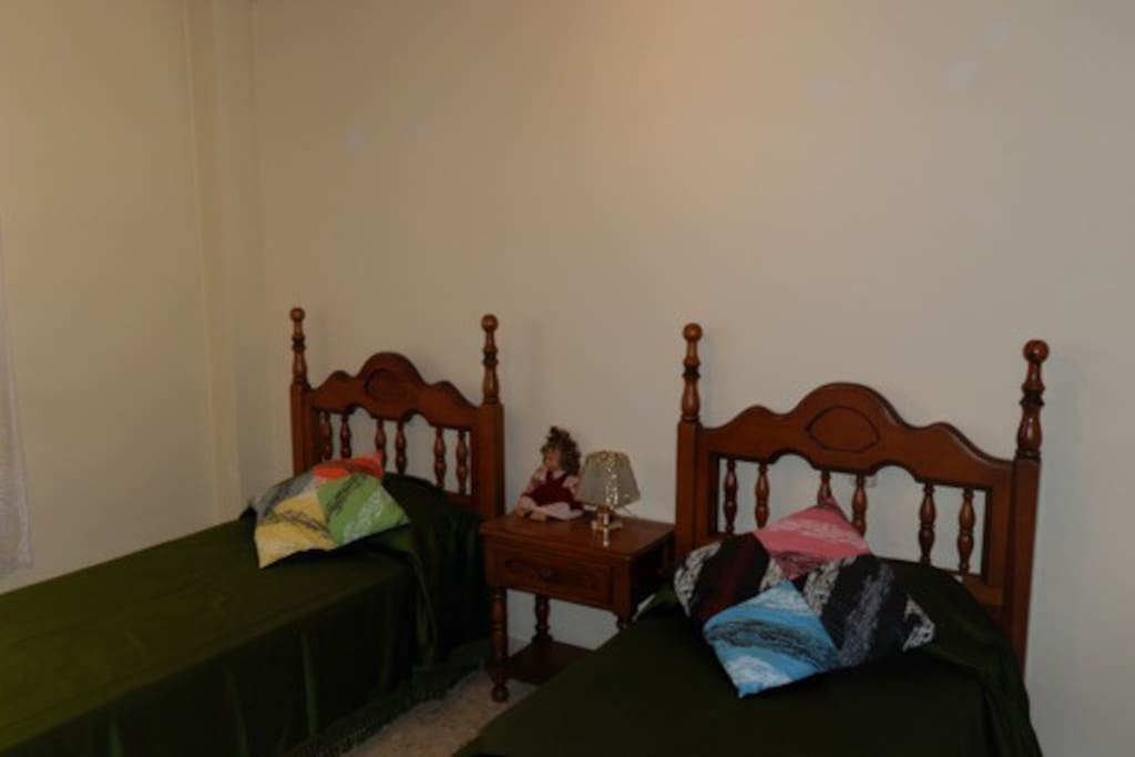 Twin beds and large wardrobe