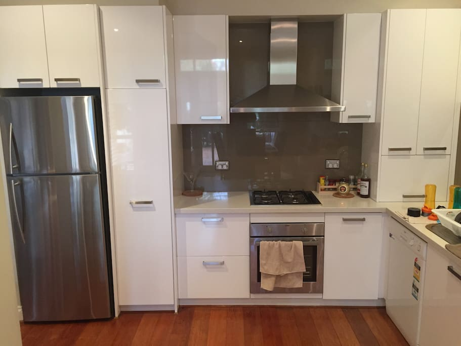 Clean and Modern kitchen with Fridge