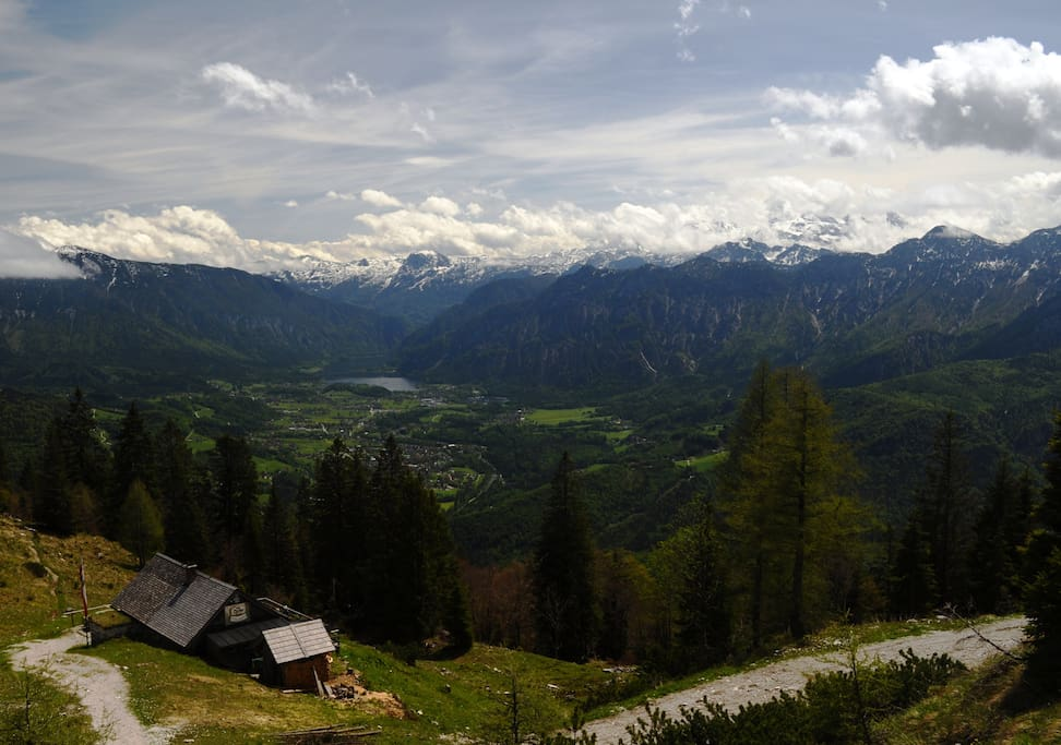 View towards Lake Hallstatt from the Katrin cablecar mountain station